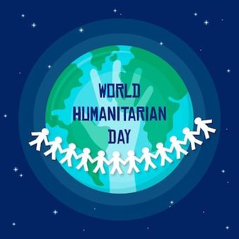 Design plat de la journée humanitaire mondiale
