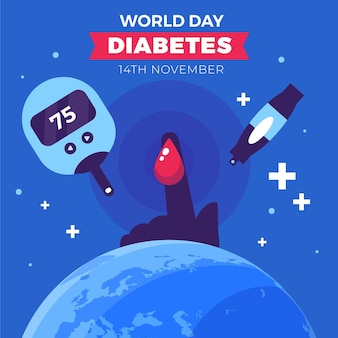 Design plat journée mondiale du diabète insuline et doigt