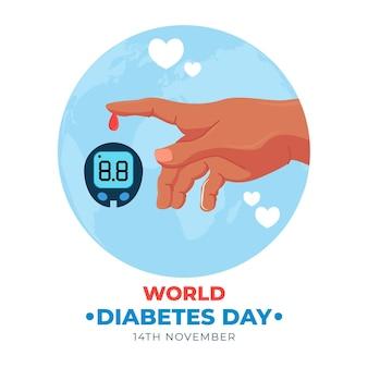 Design plat de la journée mondiale du diabète