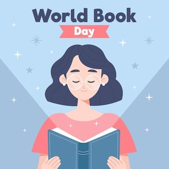 Design plat de la journée mondiale du livre