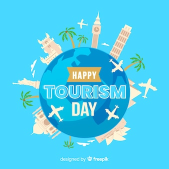 Design plat avec la journée mondiale du tourisme