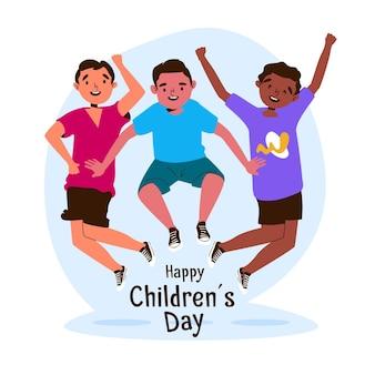 Design plat de la journée mondiale des enfants