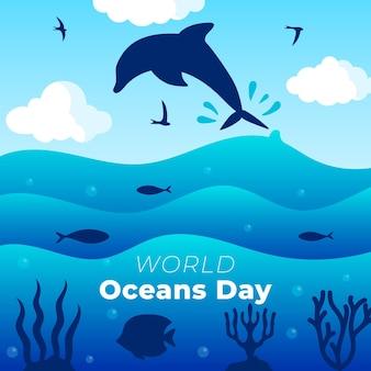 Design plat de la journée mondiale des océans