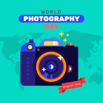 Design plat de la journée mondiale de la photographie
