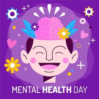 Design plat de la journée mondiale de la santé mentale