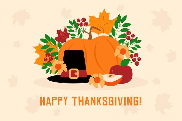 Design plat joyeux thanksgiving papier peint avec de la nourriture