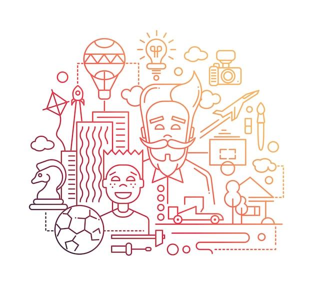 Design plat de ligne moderne composition heureuse père et fils avec symboles de passe-temps communs et - couleur dégradée