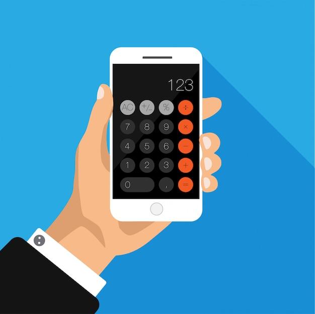 Design plat de la main tenant le téléphone avec l'application calculatrice à l'écran.