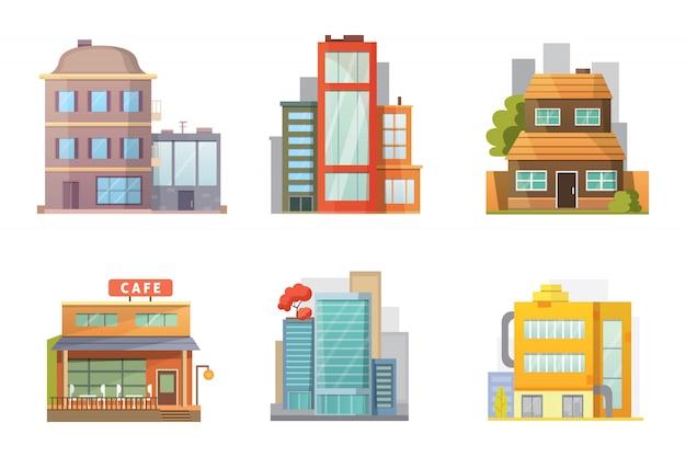 Design plat de maisons de ville rétro et modernes. bâtiments anciens, gratte-ciel. bâtiment de chalet coloré, café.