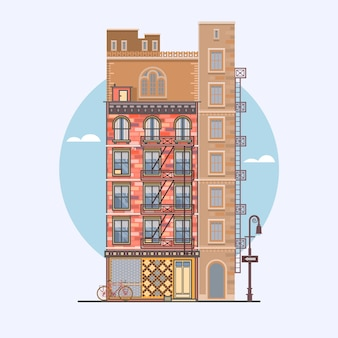 Design plat de maisons de ville rétro et modernes. eléments pour la construction de paysages urbains