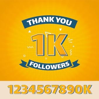 Design plat merci 1k followers pour les médias sociaux