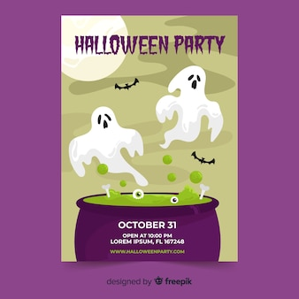 Design plat d'un modèle d'affiche de fête halloween