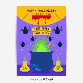 Design plat de modèle d'affiche fête halloween