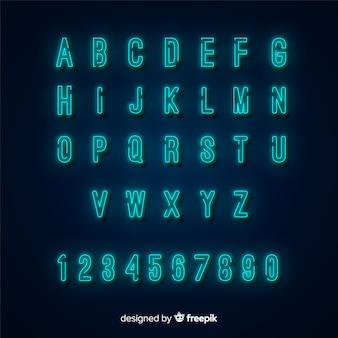 Design plat de modèle alphabet néon