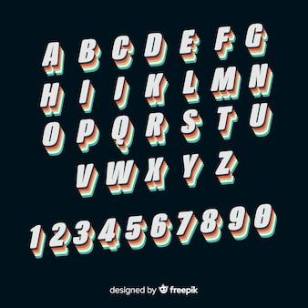 Design plat modèle alphabet vintage