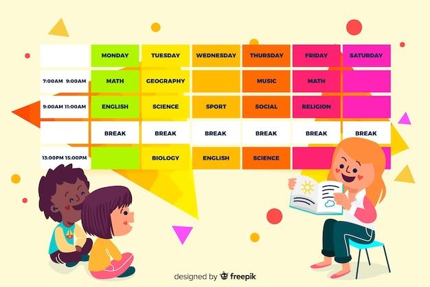 Design plat de modèle de calendrier scolaire coloré