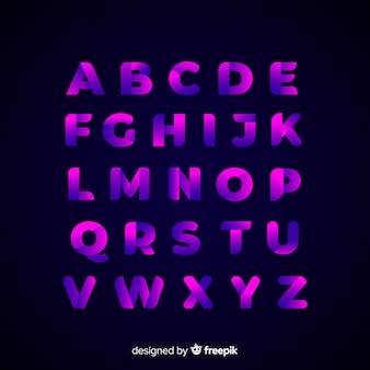 Design plat modèle dégradé alphabet