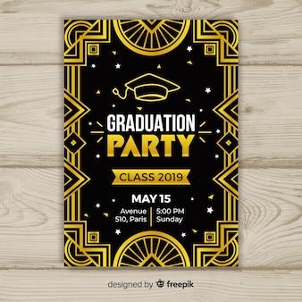 Design plat de modèle élégant invitation graduation