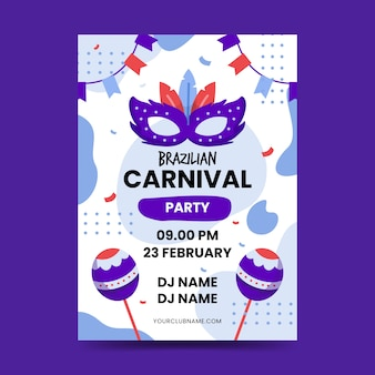 Design plat de modèle de flyer de carnaval brésilien