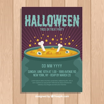 Design plat de modèle de flyer party halloween