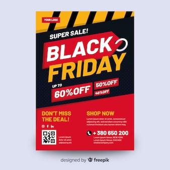 Design plat de modèle de flyer vendredi noir