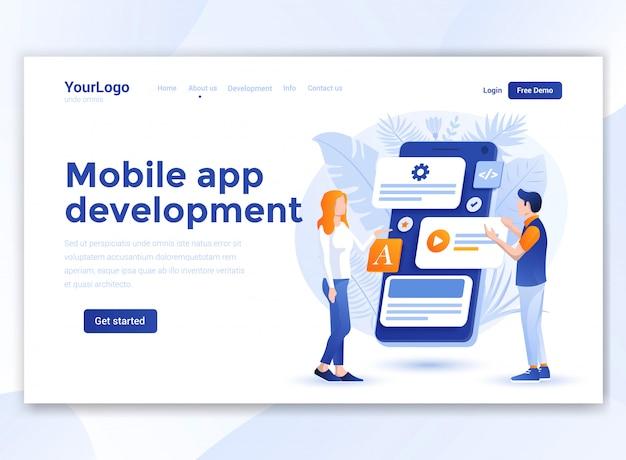 Design plat moderne du modèle de site web - développement d'applications mobiles