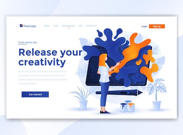 Design plat et moderne du modèle de site web - libérez votre créativité