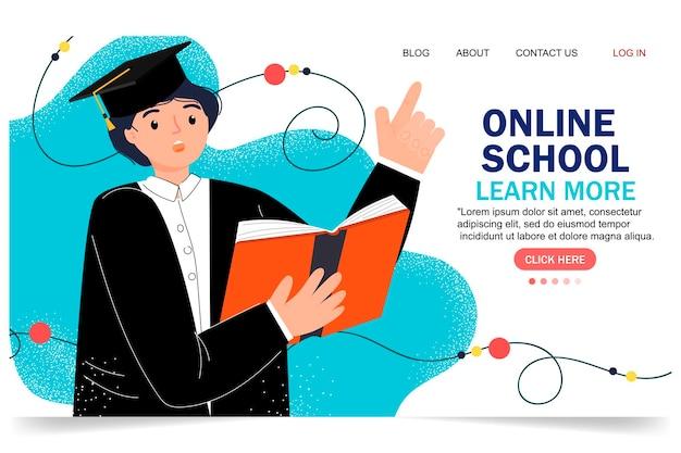 Design plat moderne d'éducation en ligne. concept d'école en ligne. enseignement à distance. modèle de page de destination. pour votre conception.