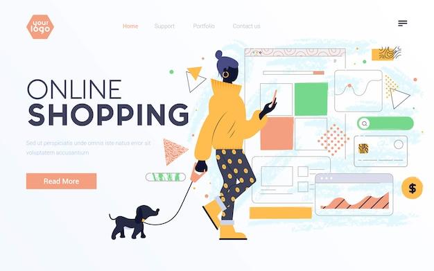 Design plat moderne illustration des achats en ligne