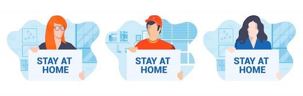 Design plat moderne illustration de la campagne stay at home