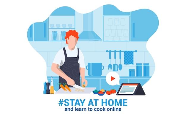 Design plat moderne illustration de rester à la maison