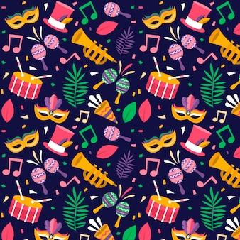 Design plat de motif coloré de carnaval brésilien