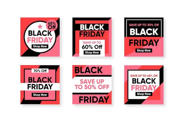 Design plat noir vendredi instagram post