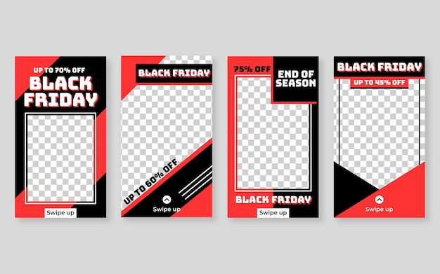 Design plat noir vendredi instagram stories