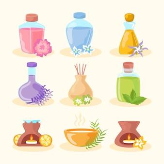 Design plat de pack d'éléments d'aromathérapie