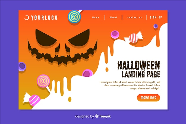 Design plat de la page d'atterrissage d'halloween