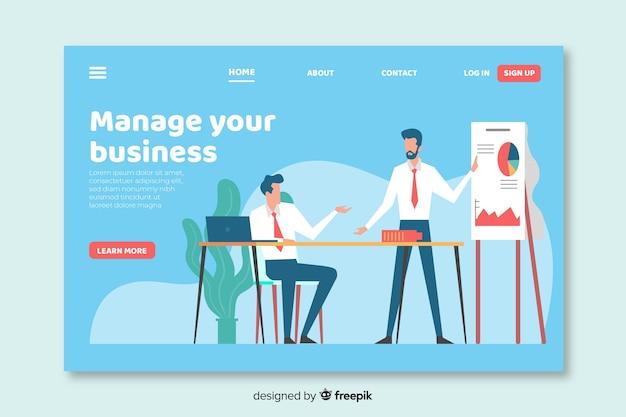 Design plat de page de destination d'affaires