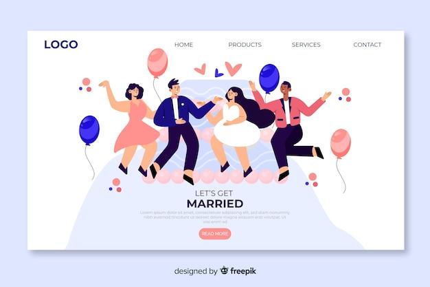 Design plat de la page de destination de mariage
