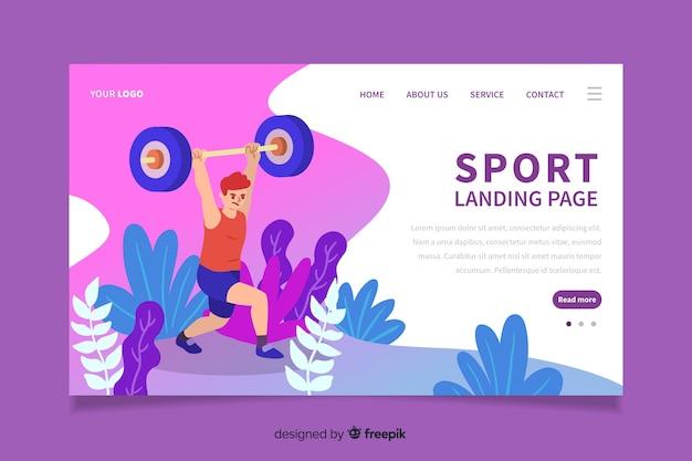 Design plat de la page de destination sportive