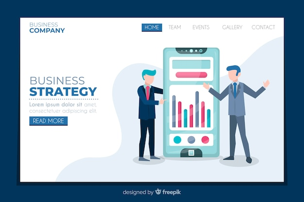 Design plat de page de destination de stratégie commerciale