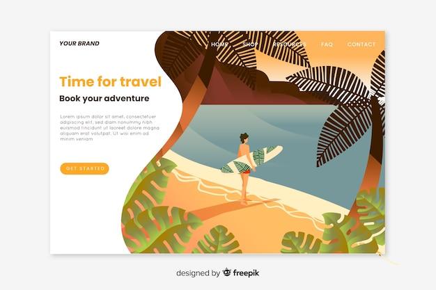 Design plat de page de destination de voyage