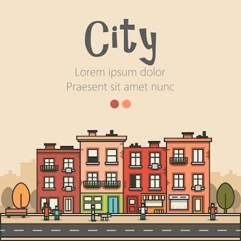 Design plat paysage urbain moderne et illustration de la vie de la ville.