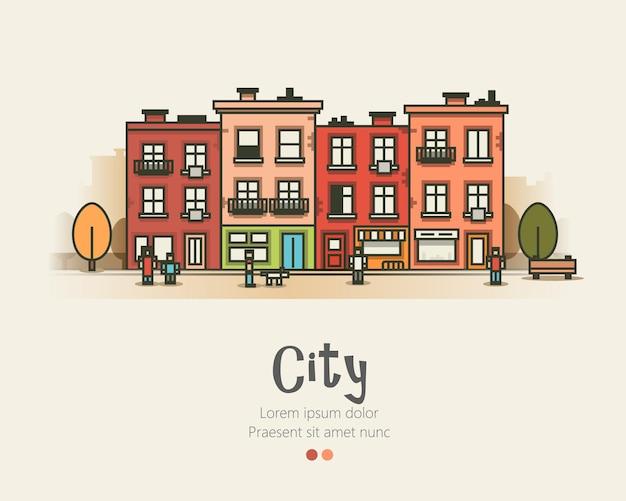 Design plat paysage urbain moderne et vie en ville.