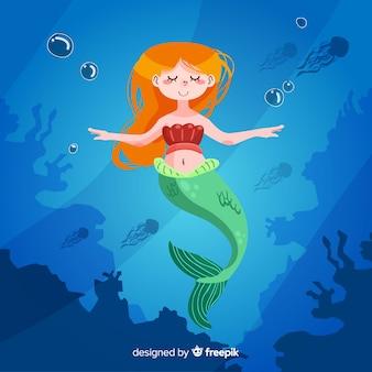 Design plat de personnage de sirène
