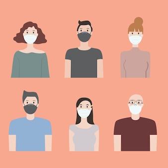 Design plat de personnes portant des masques médicaux pour empêcher covid 19