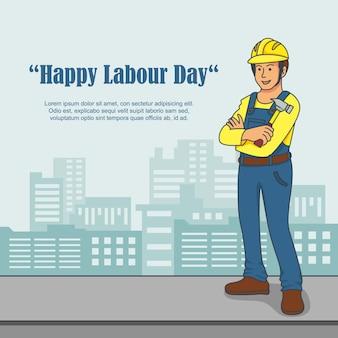 Design plat pour célébrer la fête internationale du travail.