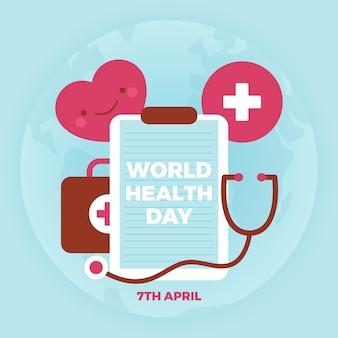 Design plat pour le concept de la journée mondiale de la santé