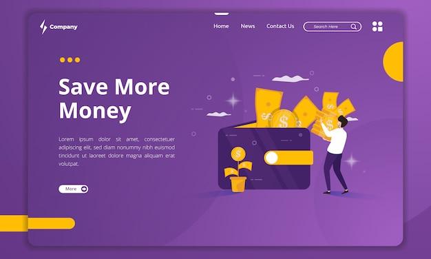 Design plat pour économiser plus d'argent sur le modèle de page de destination