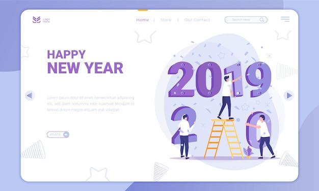 Le design plat remplace 2019 à 2020, thème nouvel an sur la page de destination