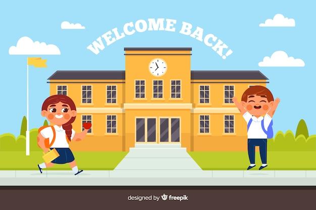 Design plat retour au fond de l'école